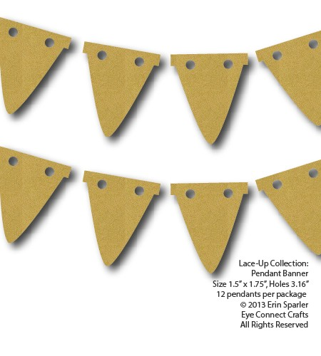 These Lace-Up flags or pendants make great decorative additions to a craft project or even tiny labels.