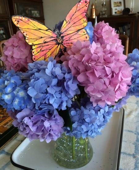 Totem Poppet Monarch in bouquet of hydrangeas.