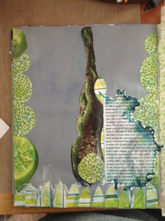 Step 1 of mixed media collage.
