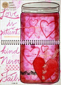 Create a heart themed art journal page using the Lace-Up Broken Hearts.