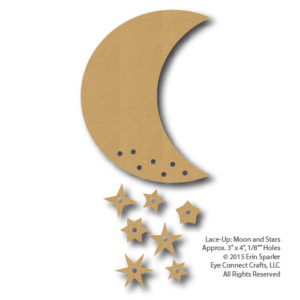 This Lace-Up Moon and Stars is a fun and easy craft project. Use ribbon, or string to lace up the moon and stars and add pop to your next craft project.