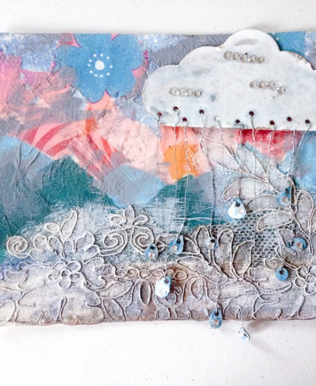 Lace-Up Rain Cloud and rain drops used in a mixed media collage.