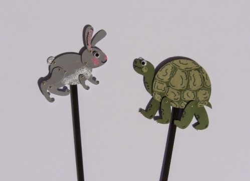 Rabbit and Turtle Shadow Puppet examples by Terry Ricioli.