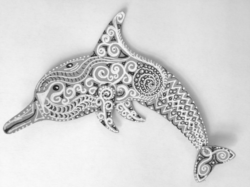 Totem Poppet Dolphin in gray, black and white..