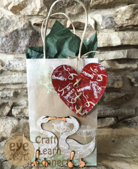 Make a Valentines Day Gift Bag label with The Totem Swans and the Lace-Up Broken Heart.