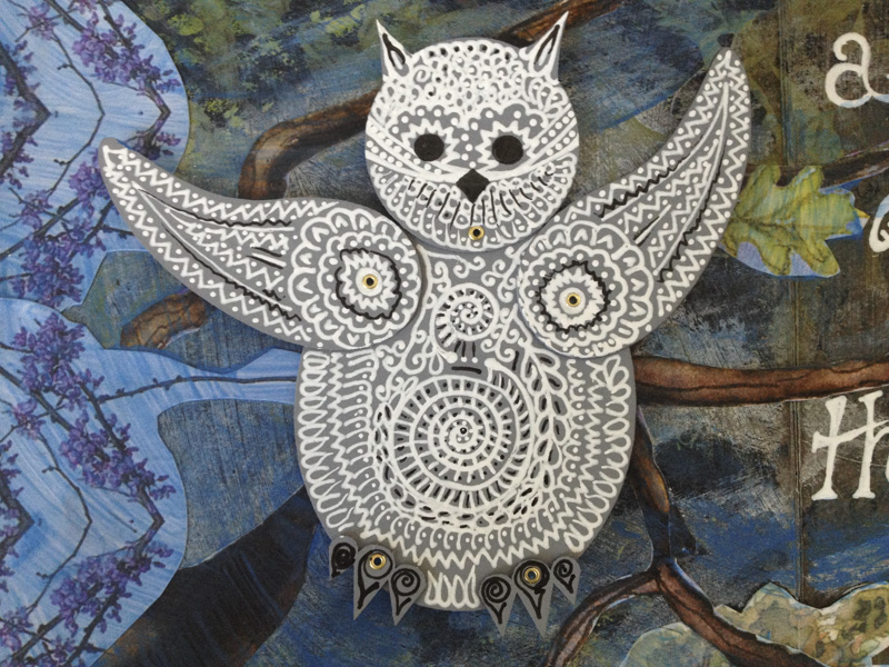 A close up photo of the detailed pen work on the Totem Owl.