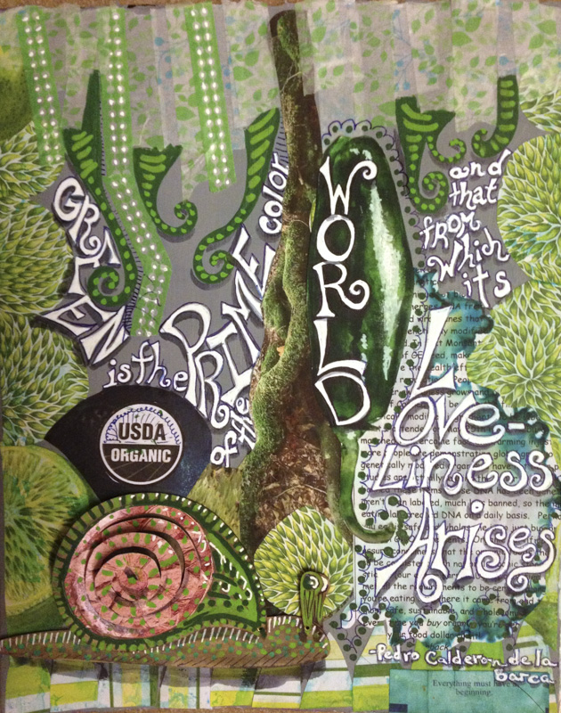 Finished art journal page using the Totem PopPet Snail.